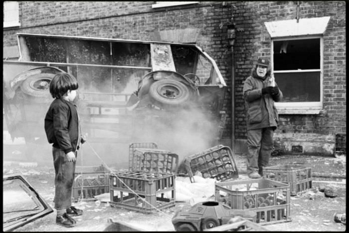 Director Alan Parker on the set of 'The Wall' with 'Little Pink' played by actor David Bingham.