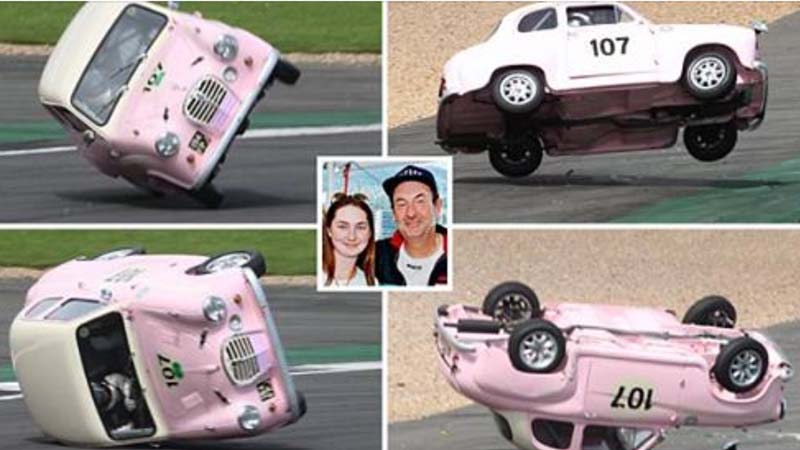 Shine on you crazy driver! Nick Mason's daughter crashes while racing at Silverstone